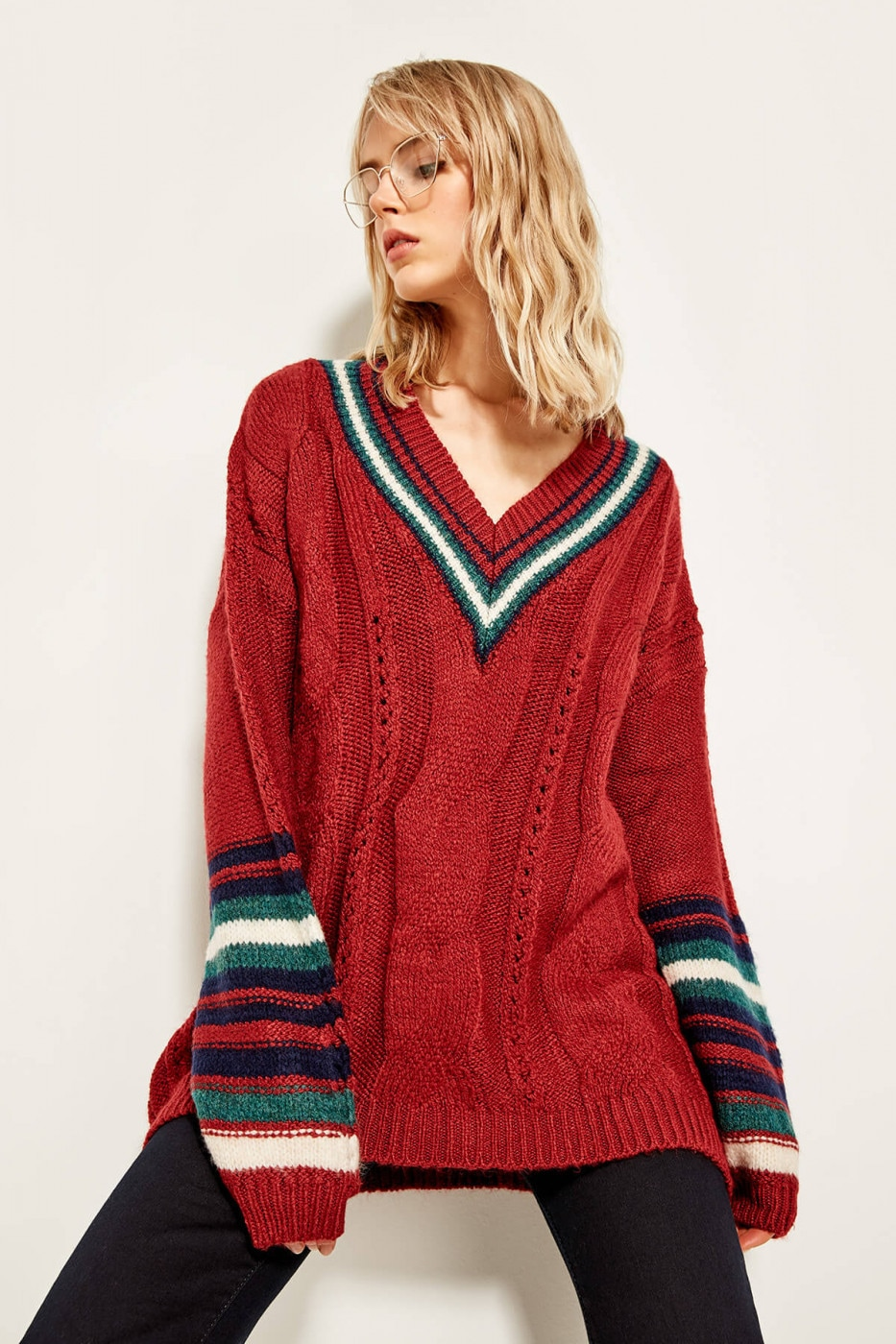Trendyol Burgundy V-neck Arm Detailed Sweater Sweaters