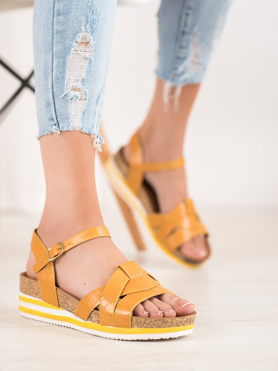 COMER YELLOW ECO LEATHER SANDALS