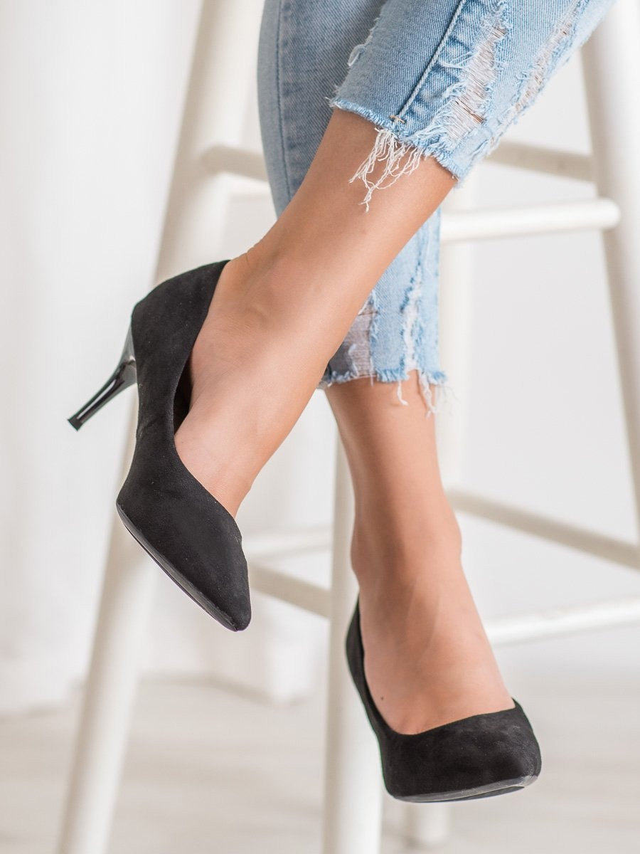 SHELOVET SUEDE BLACK STILETTOS