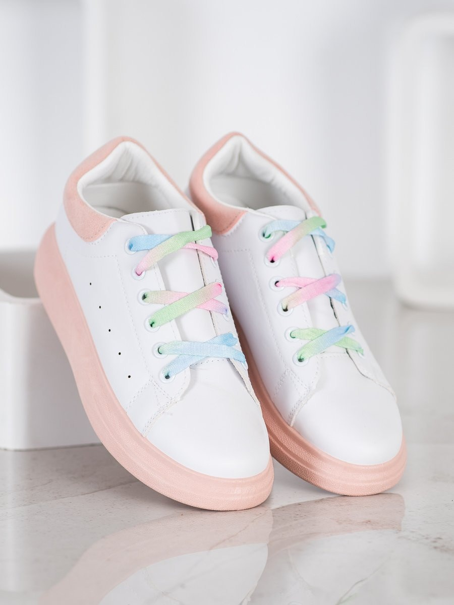 SHELOVET SNEAKERS WITH COLORED LACES