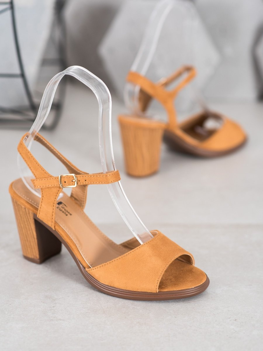 SHELOVET CAMELOWE SUEDE SANDALS