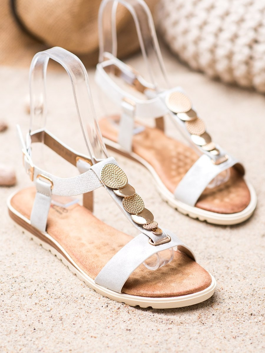 EVENTO WHITE SANDALS WITH Ornaments