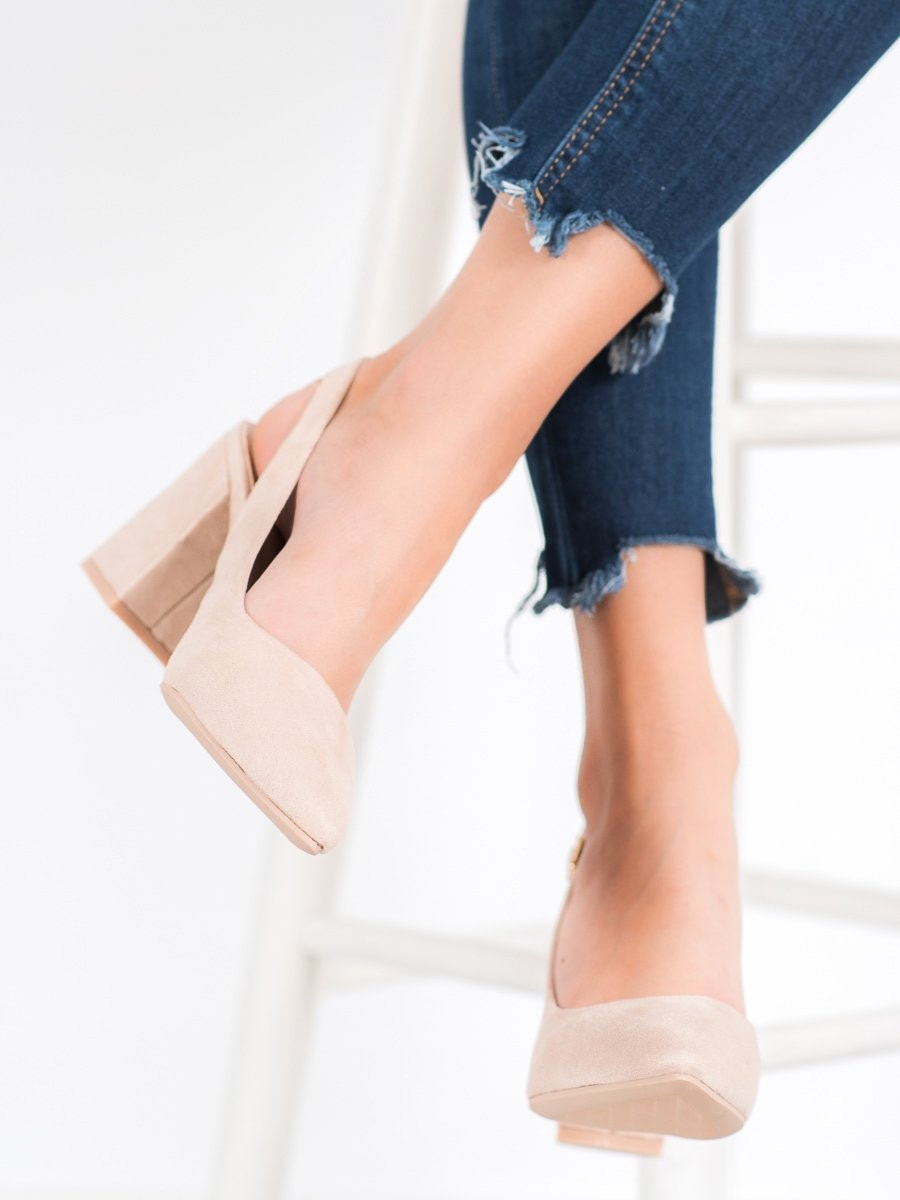 SEASTAR SUEDE PUMPS WITH EXPOSED HEEL