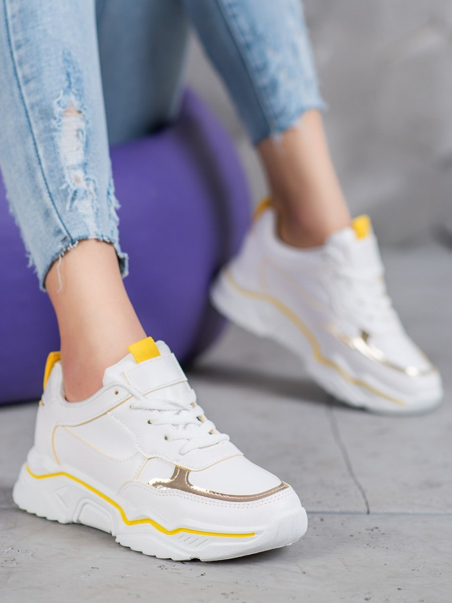 IDEAL SHOES WHITE LEATHER SNEAKERS