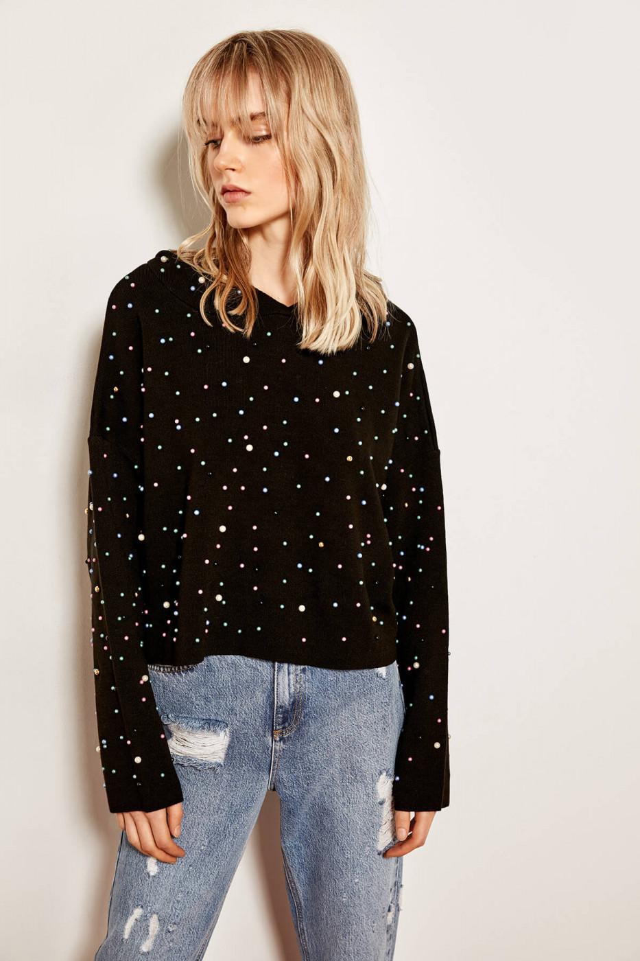 Trendyol Black Beaded Sweater