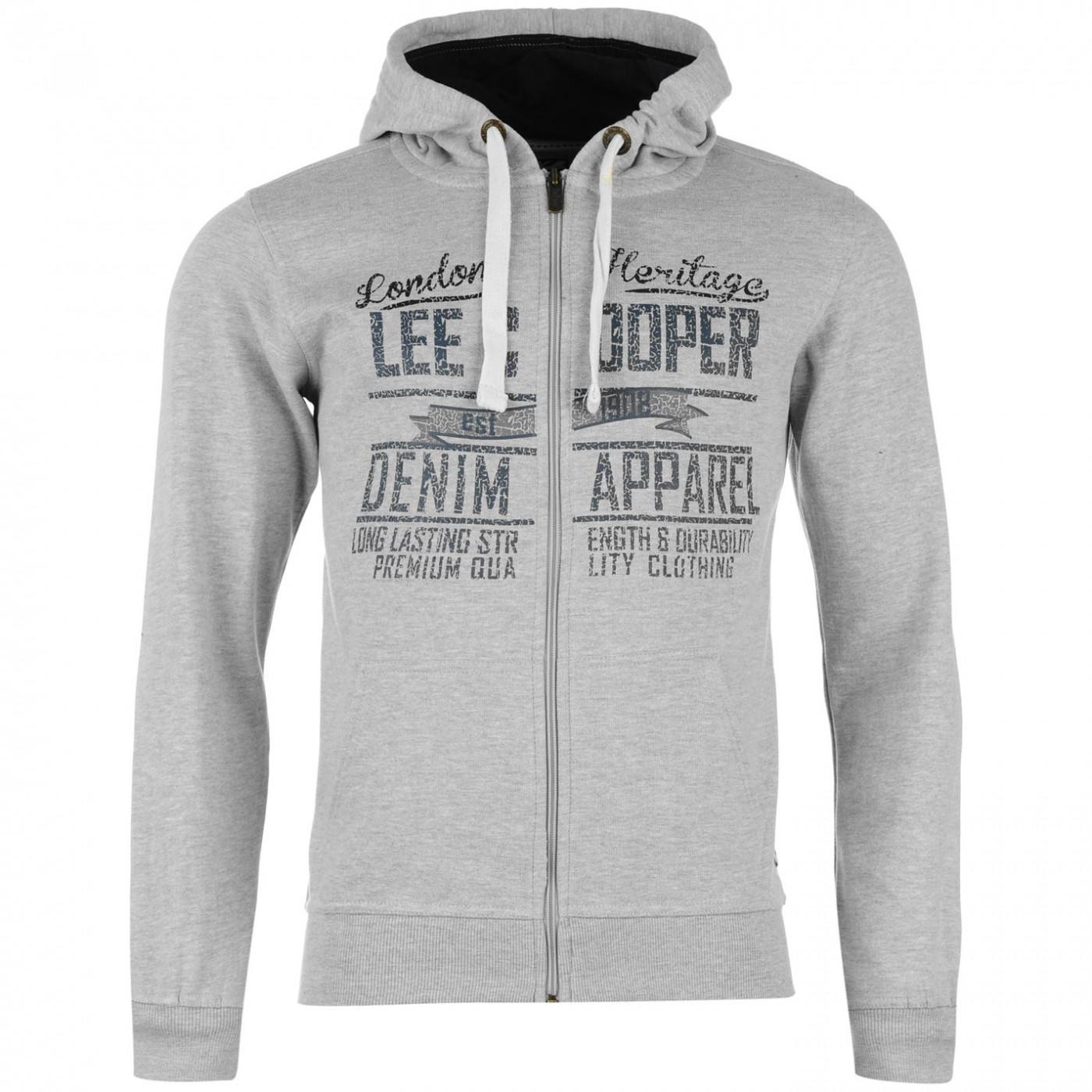 2c2c1997b634 mikina Lee Cooper Zip Through Logo Hoody pánská - FACTCOOL