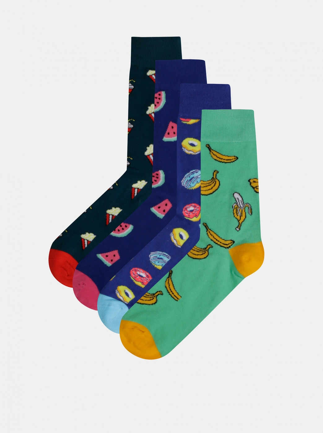 Set of four pairs of patterned socks in blue and green Jack & Jones Happy