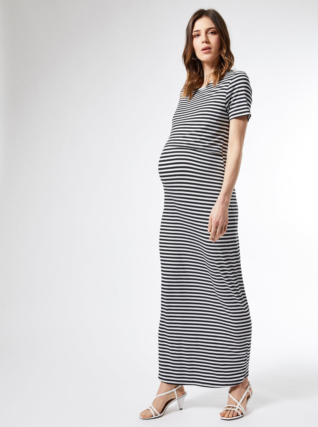 Dorothy Perkins Maternity White Striped Maternity/Nursing Basic Maxi dress