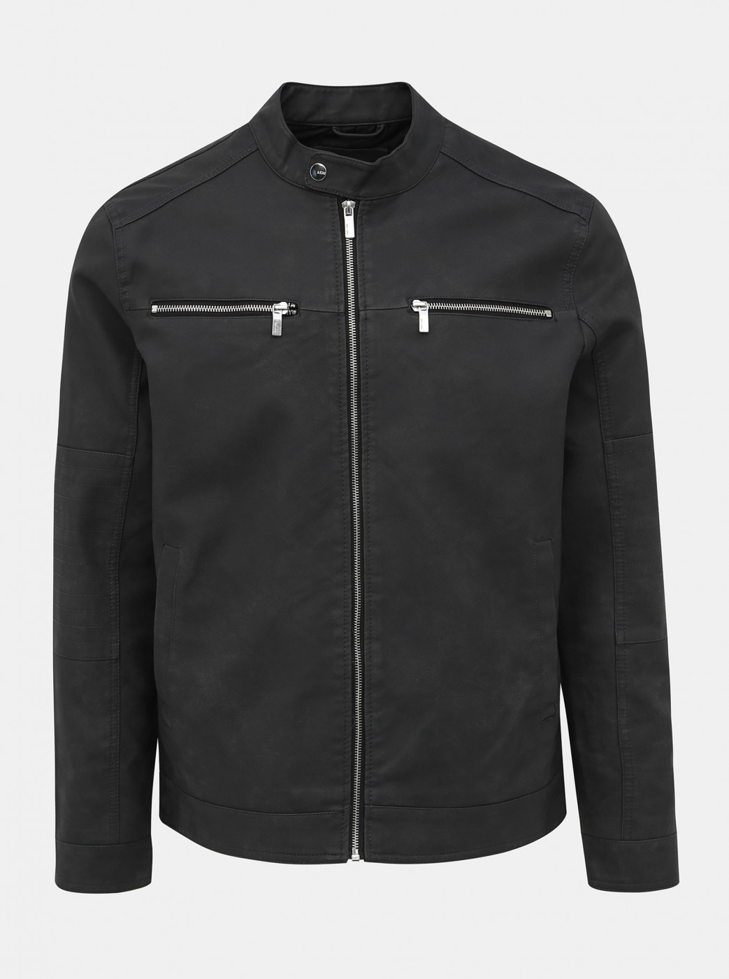 Dark grey leather jacket ONLY & SONS Favour