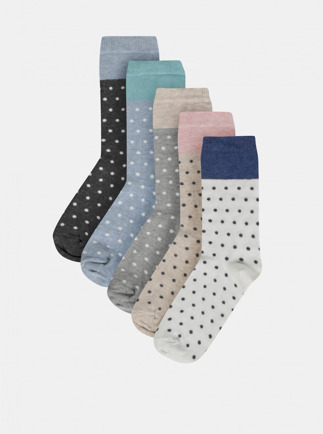Set of five pairs of dotted socks in grey, white and beige M&Co