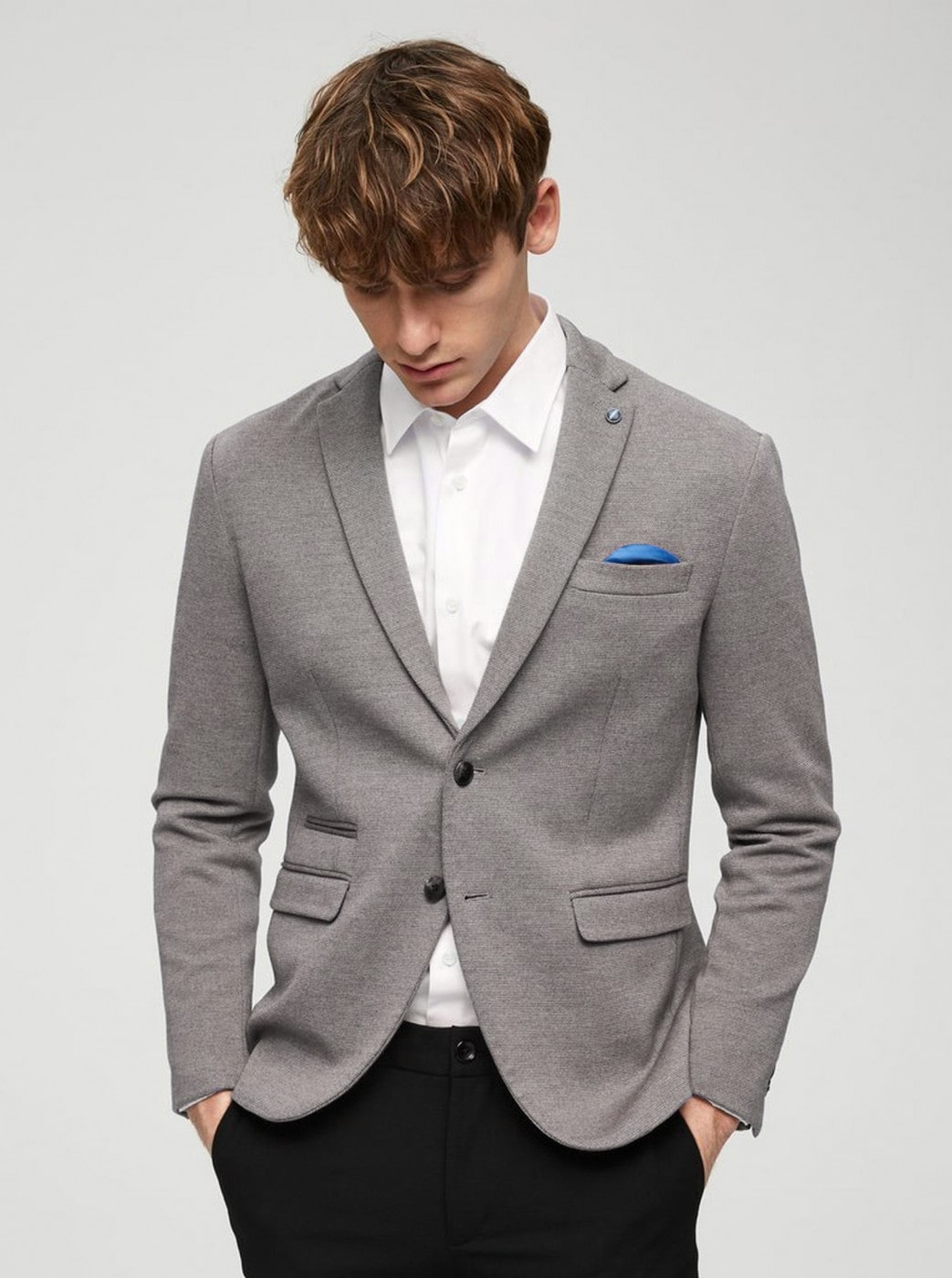 Light Grey Annealed Slim Jacket Selected By Homme New