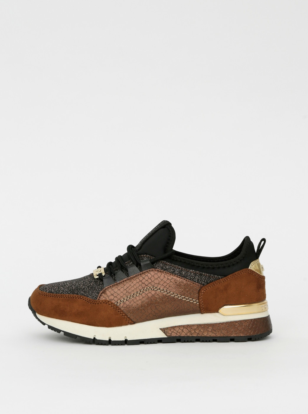 Brown women's sneakers with snake pattern Tom Tailor