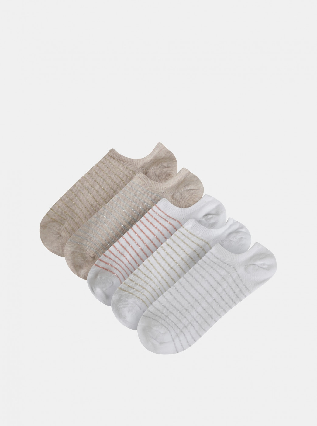 Set of five pairs of striped socks in white and beige TALLY WEiJL Damy