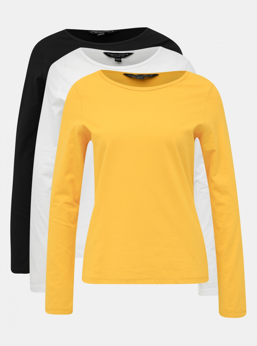 Set of three basic T-shirts in black, white and mustard dorothy perkins