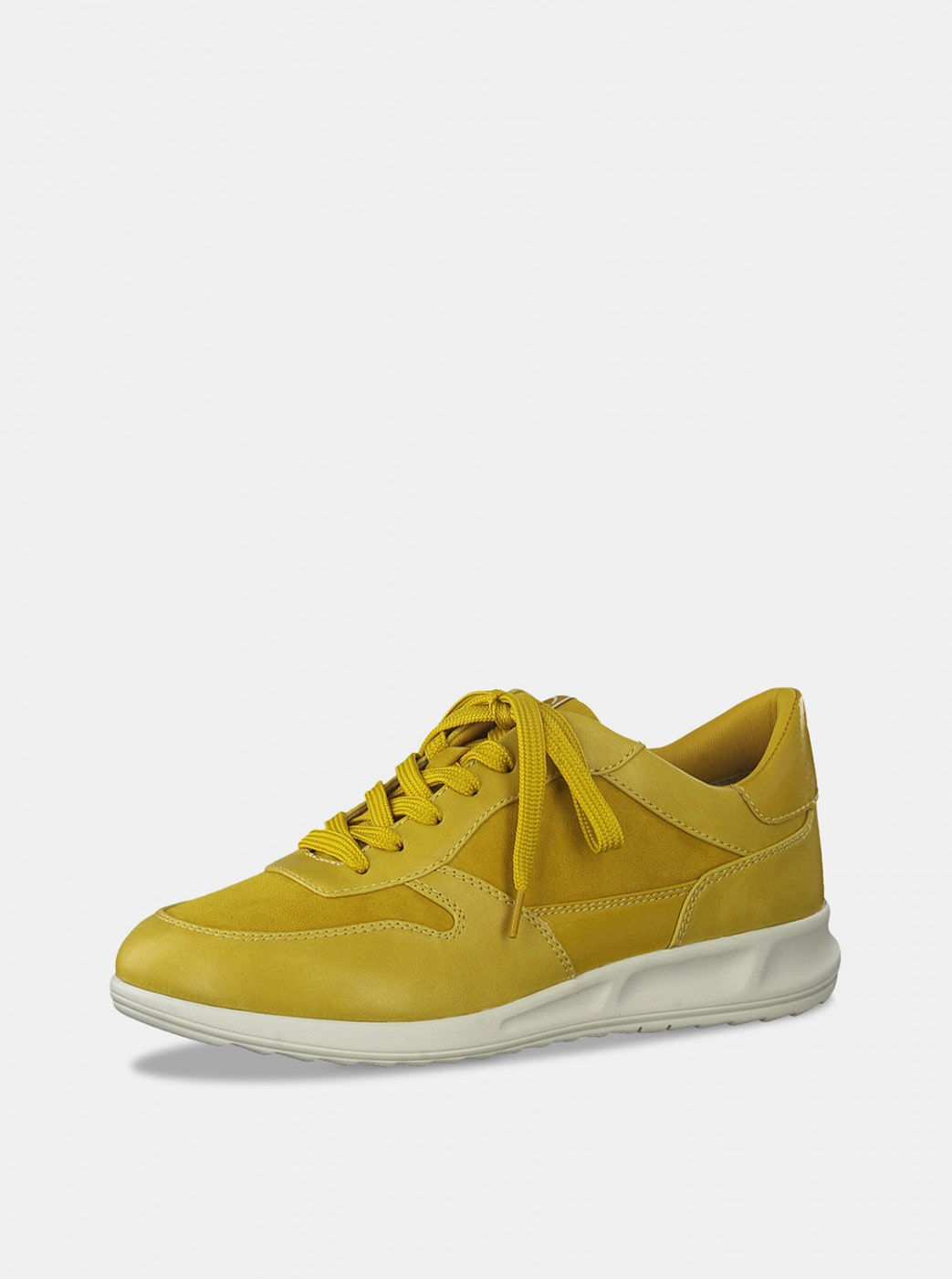 Yellow sneakers with suede tamaris details