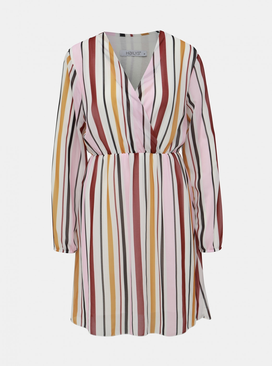 Haily's Lina White-Pink Striped Dress