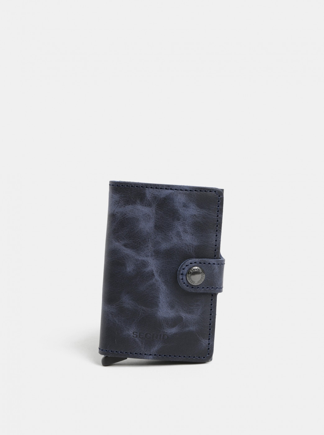Blue Leather Wallet with Aluminum Case with RFID Secrid Miniwallet
