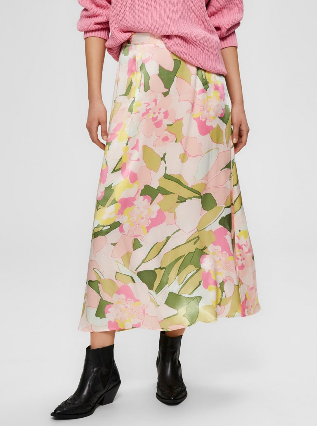 Green-pink Floral Midi Skirt Selected Femme Mola