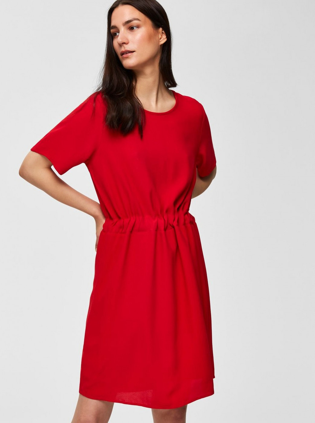 Red Dress Selected Femme Tanna