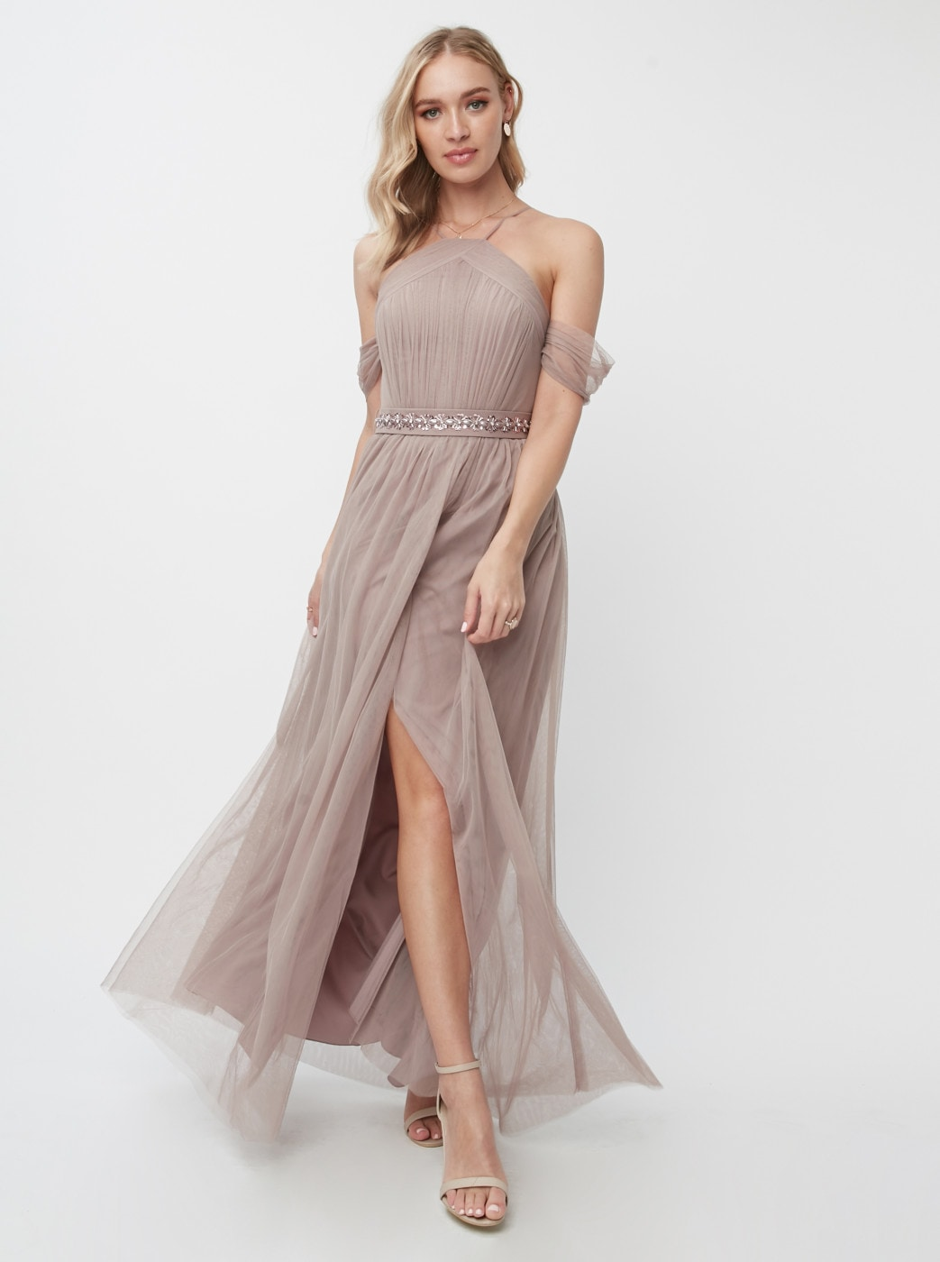 Little Mistress Old Pink Tulle Maxi dress