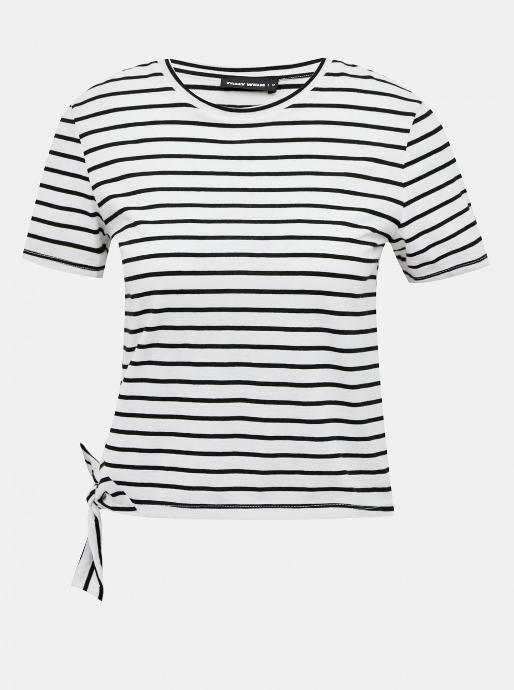 Tally WEiJL Black-and-white Striped Short T-Shirt