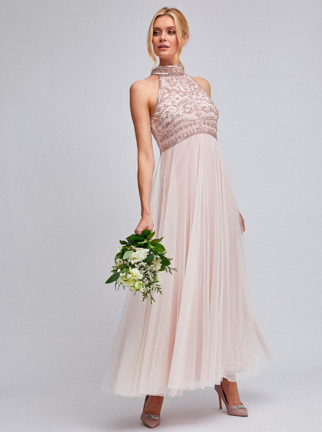 Pink tulle maxi dress by Dorothy Perkins