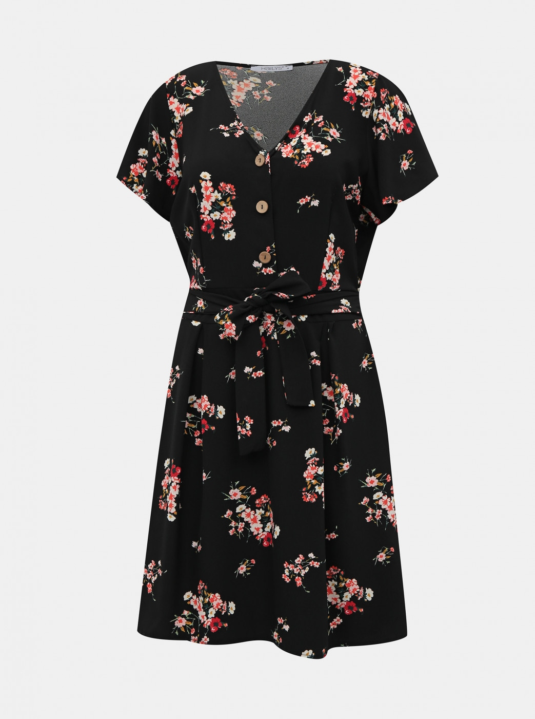 Haily's Lina Black Floral Dress