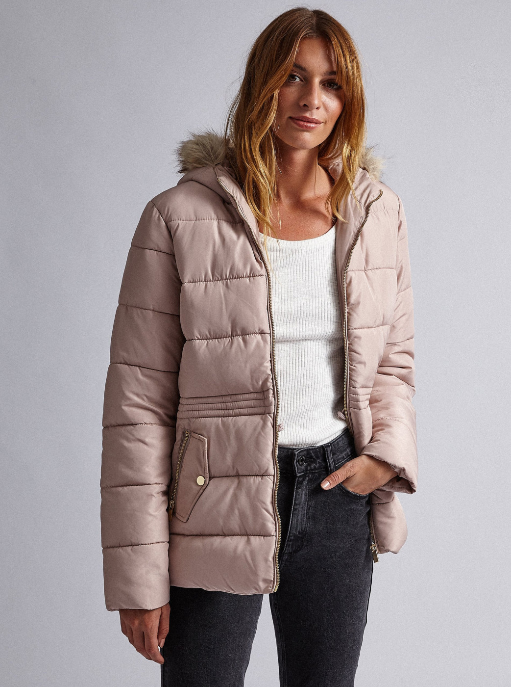 Dorothy Perkins Light Pink Quilted Winter Jacket