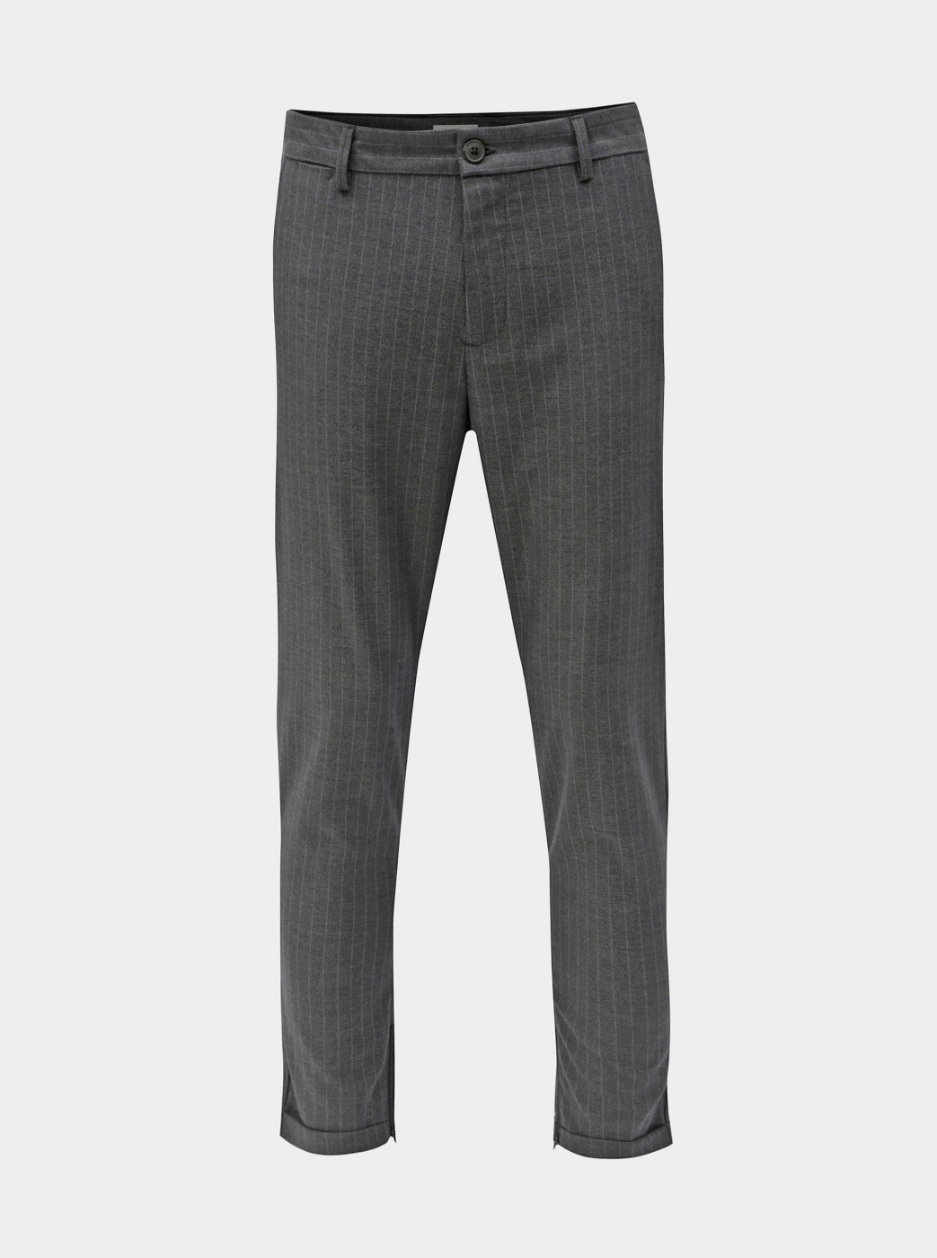 Grey Striped Cropped Pants Selected By Homme Alex