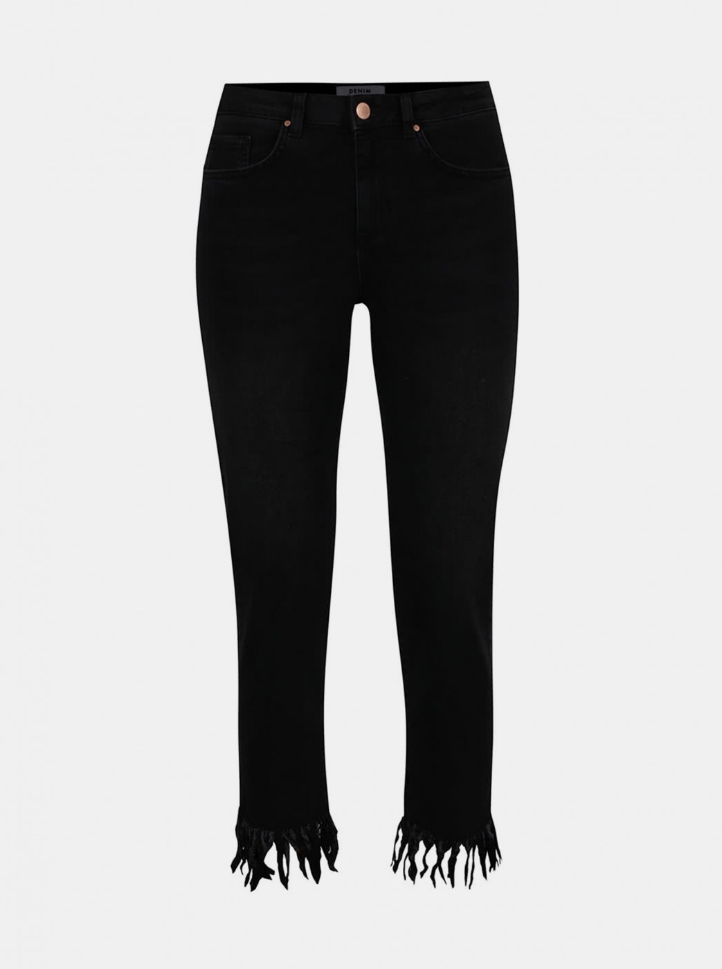 Black cropped skinny jeans with Miss Selfridge fringe