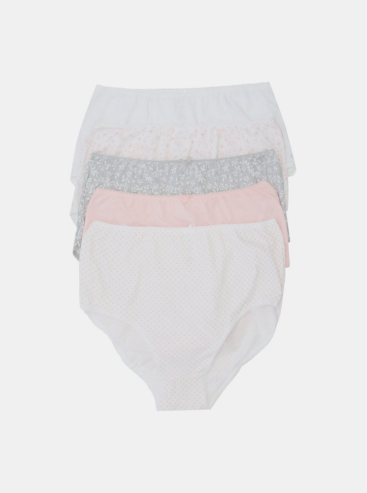 Set of five patterned panties in grey and pink M&Co