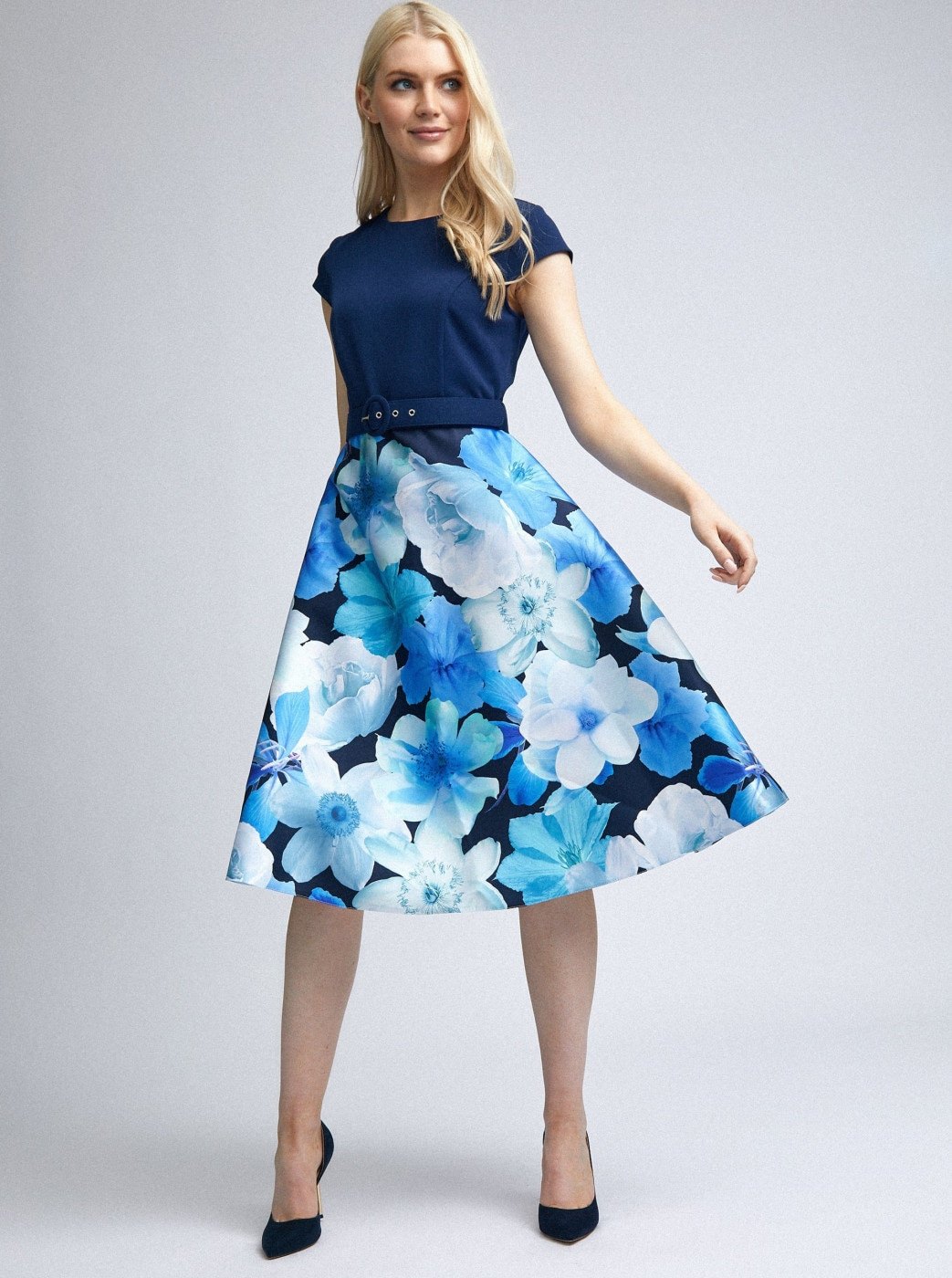 Dark Blue Floral Dress by Dorothy Perkins