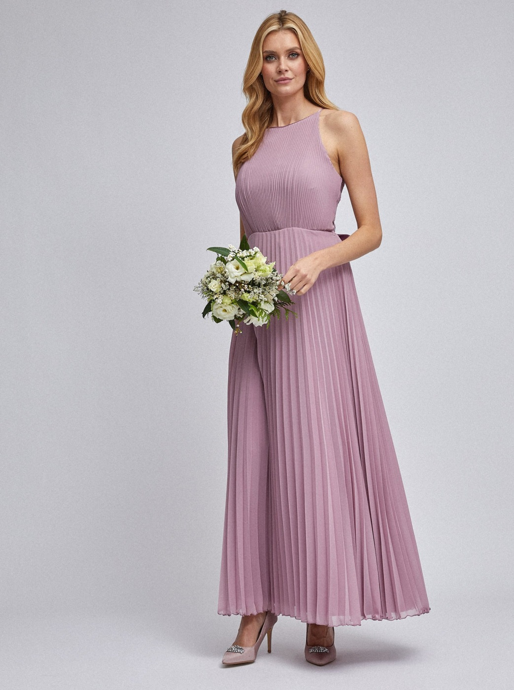 Dorothy Perkins Old Pink Pleated Maxi dress