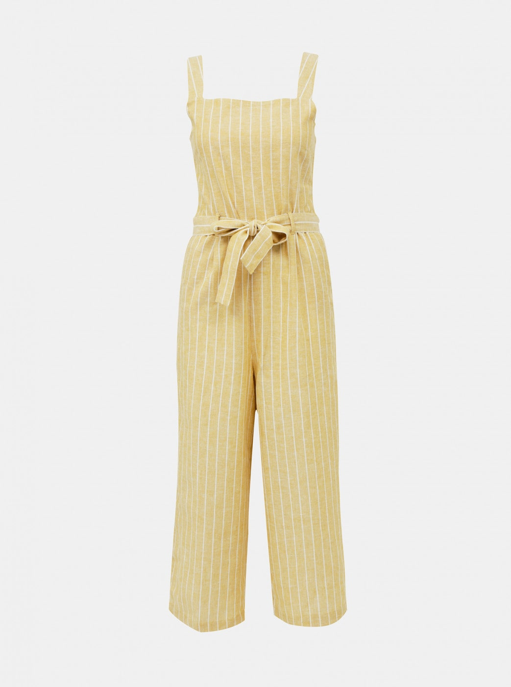 Yellow striped jumpsuit with only canyon flax