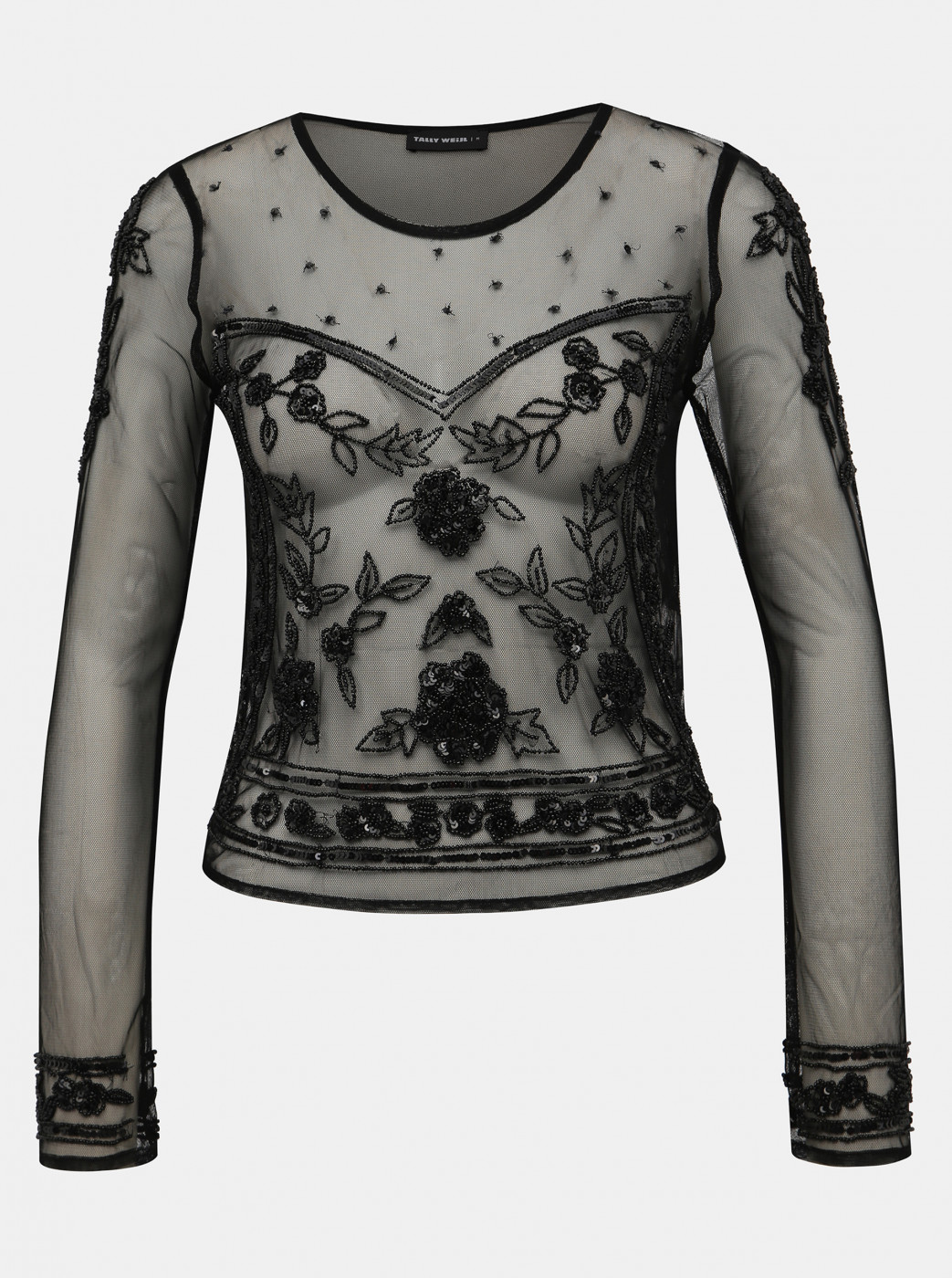 Black Translucent Blouse With Beads And Sequins Tally Weijl