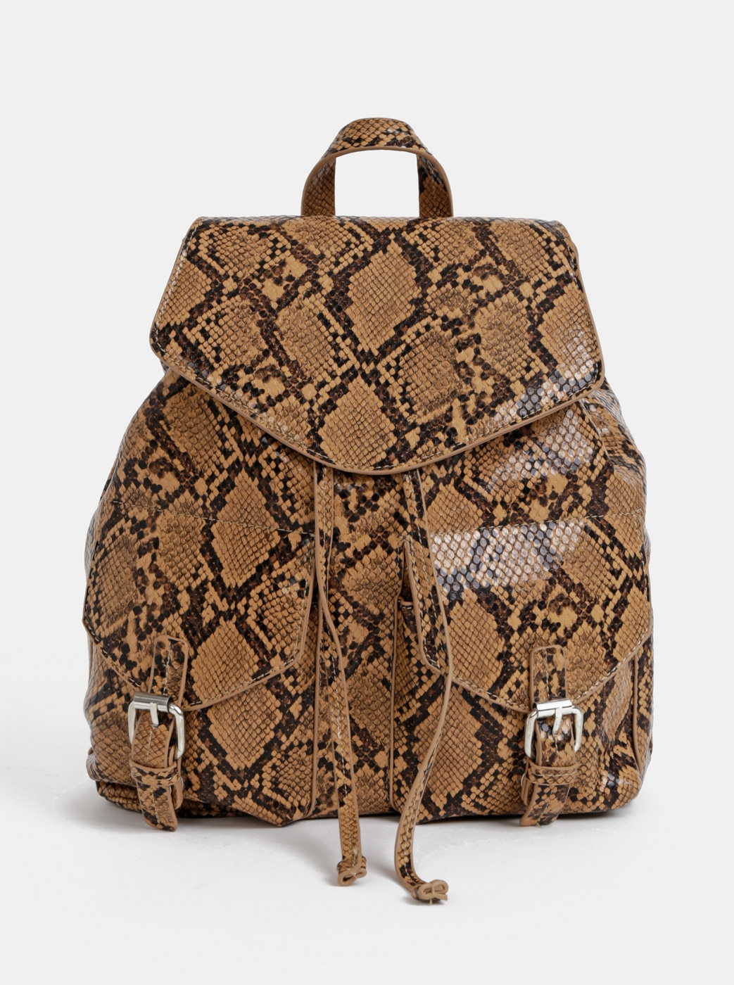 Pieces Irina Brown Snake-Patterned Backpack