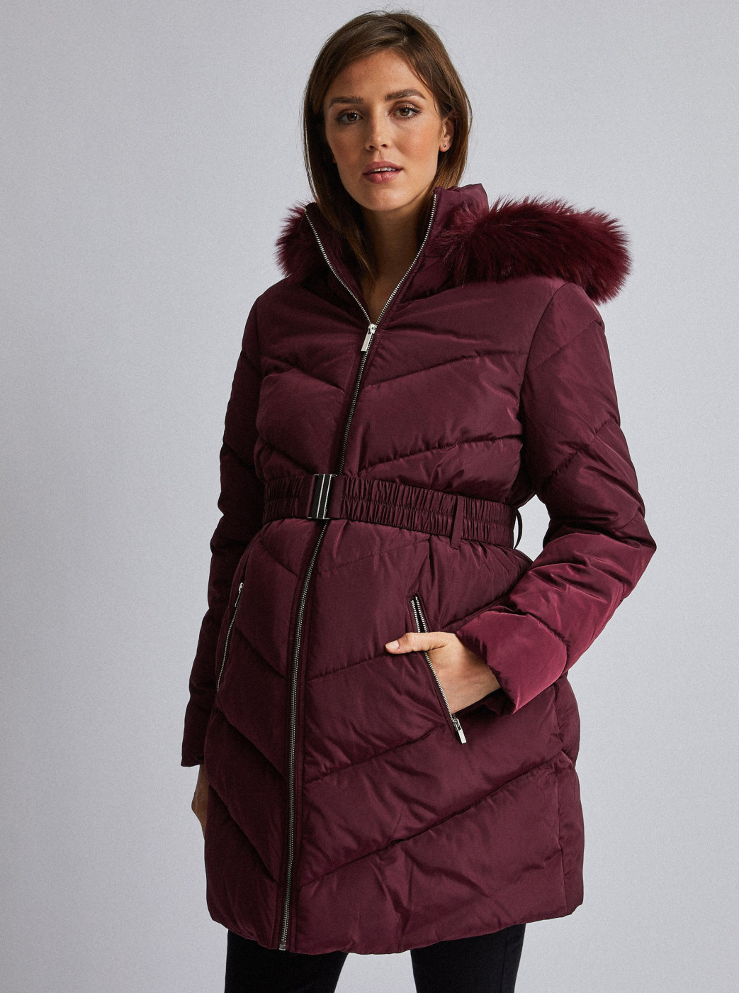 Dorothy Perkins Maternity Burgundy Winter Coat