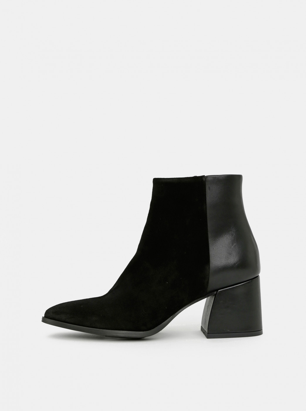 Black leather ankle boots with suede details VERO MODA Nola