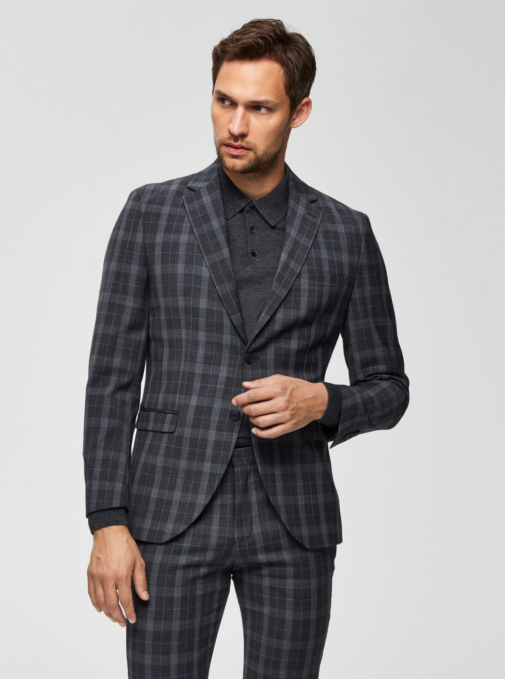 Grey Plaid Slim Fit Jacket with Admixture Wool Selected By Homme Myloport