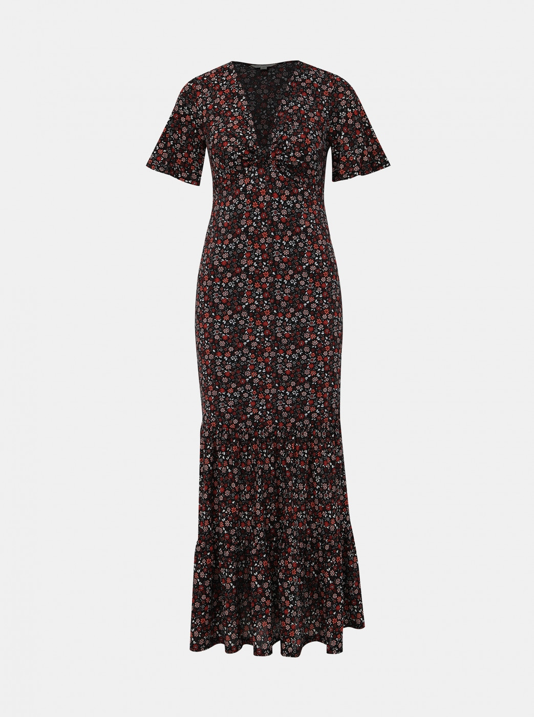 Miss Selfridge's Red-Black Floral Maxi dress