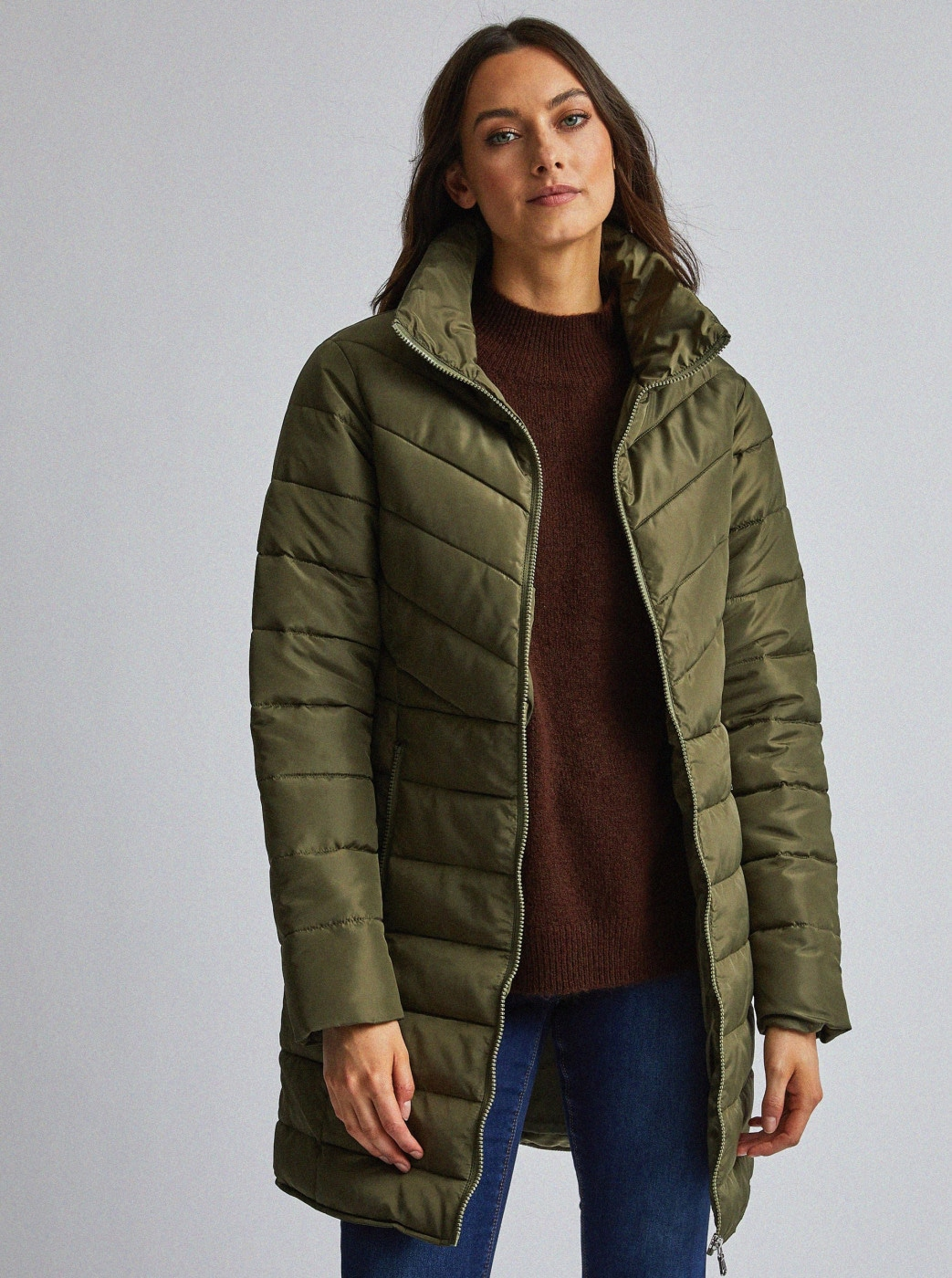 Khaki quilted coat by Dorothy Perkins