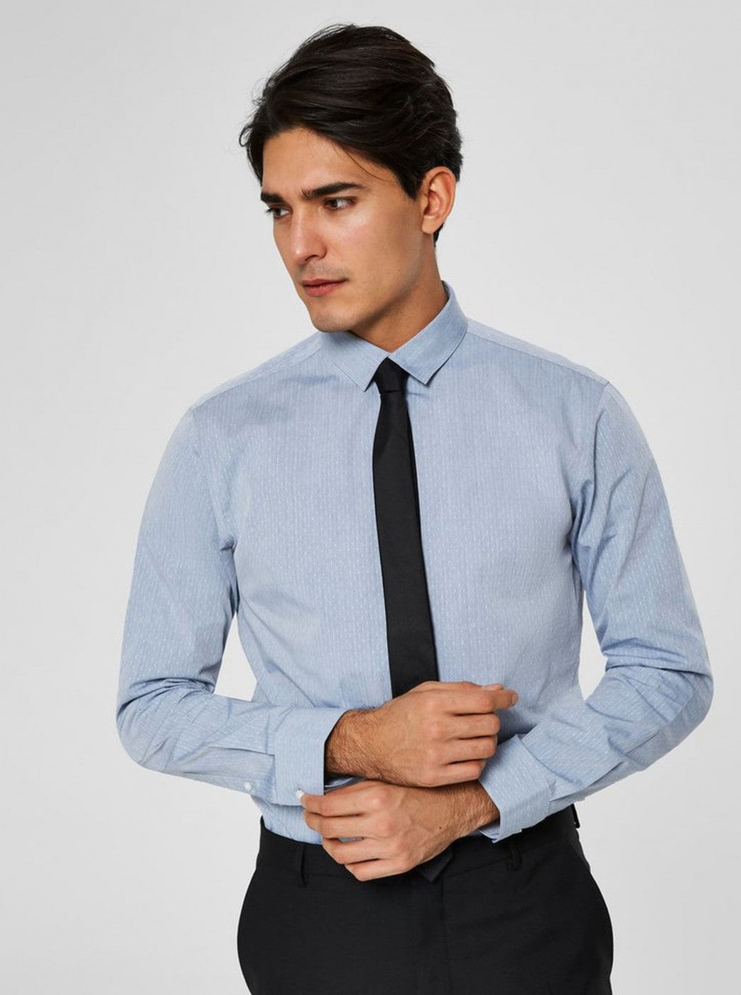 Light Blue Slim Fit Shirt with Small Pattern Selected Homme Kris