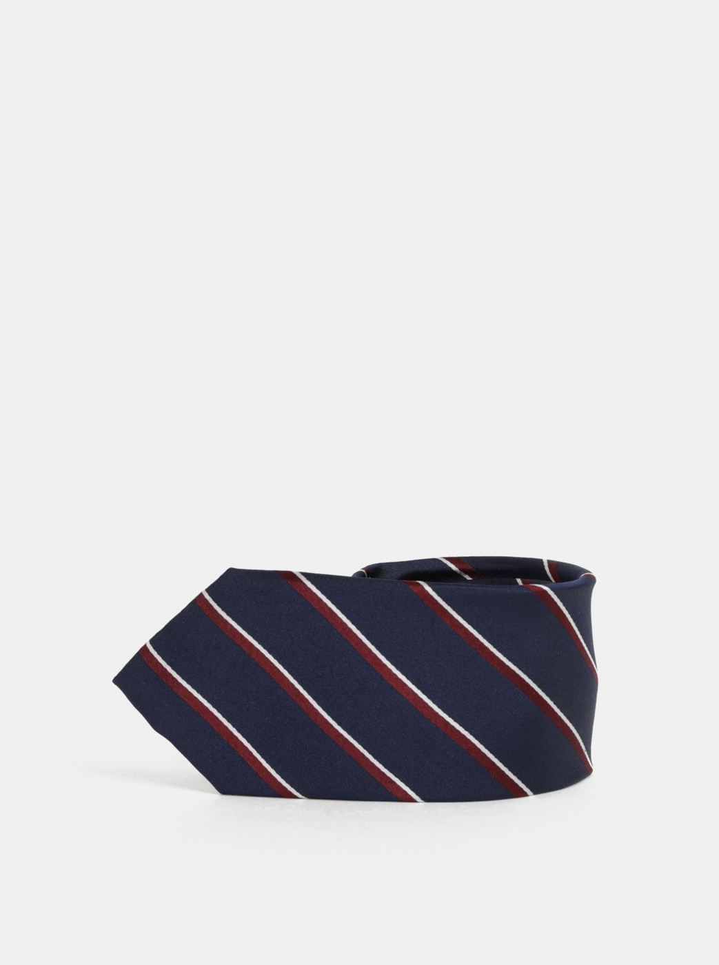 Burgundy-blue Striped Silk Tie Selected by Homme Noah