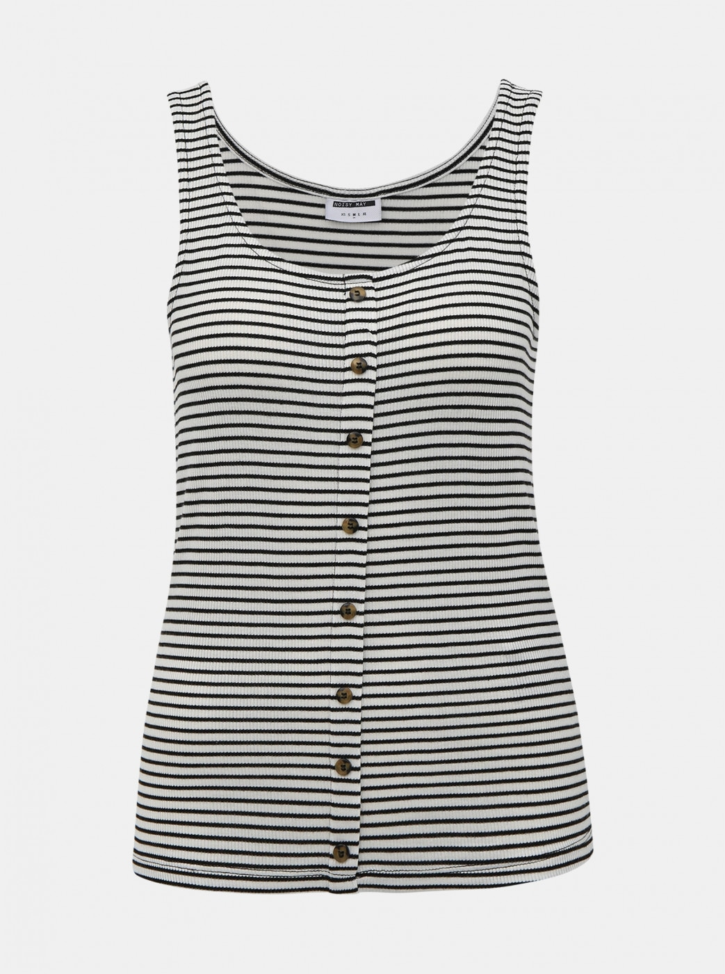 Noisy May Henley Black-and-White Striped Tank Top