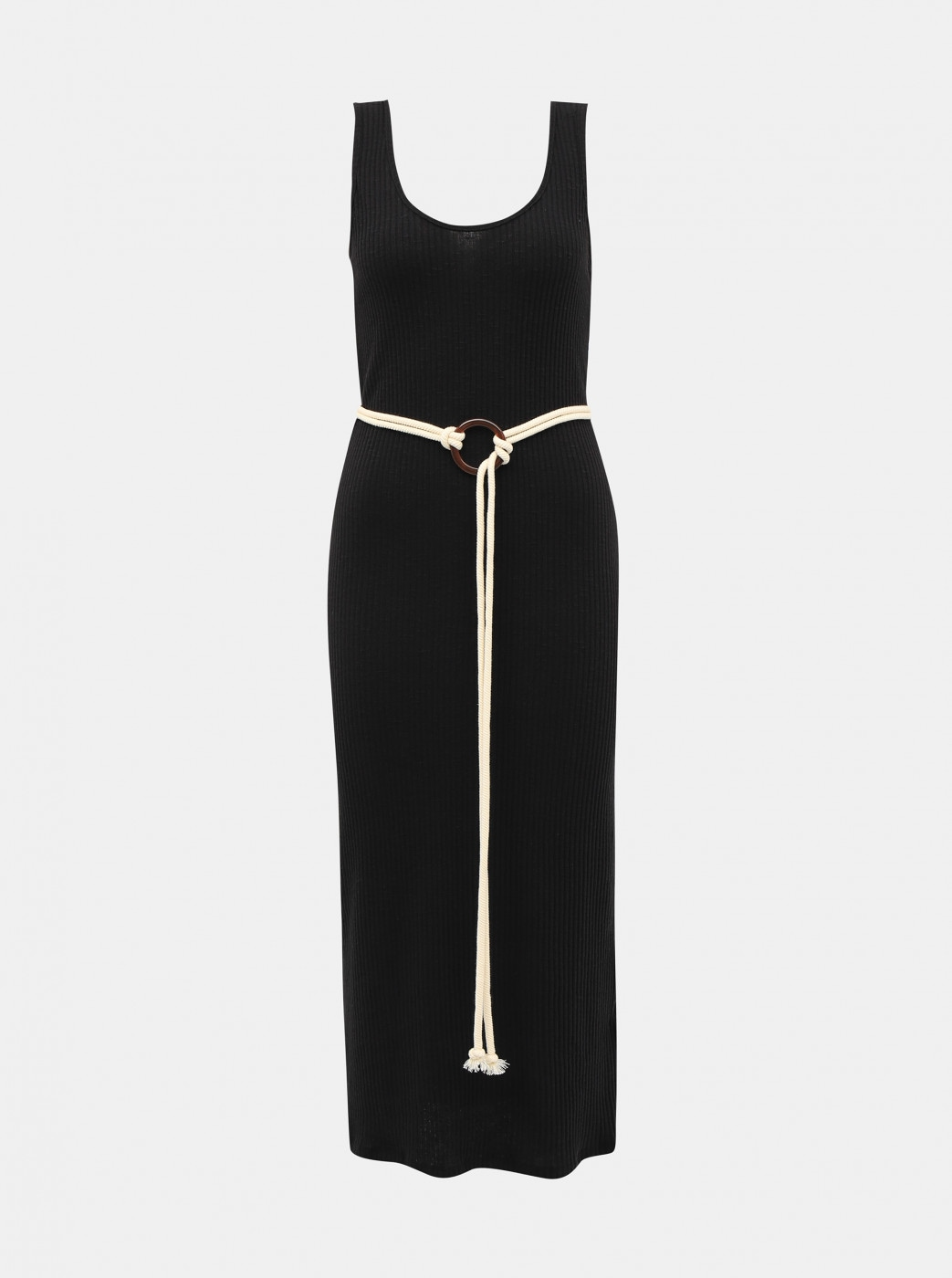 Black ribbed dress with alcott belt