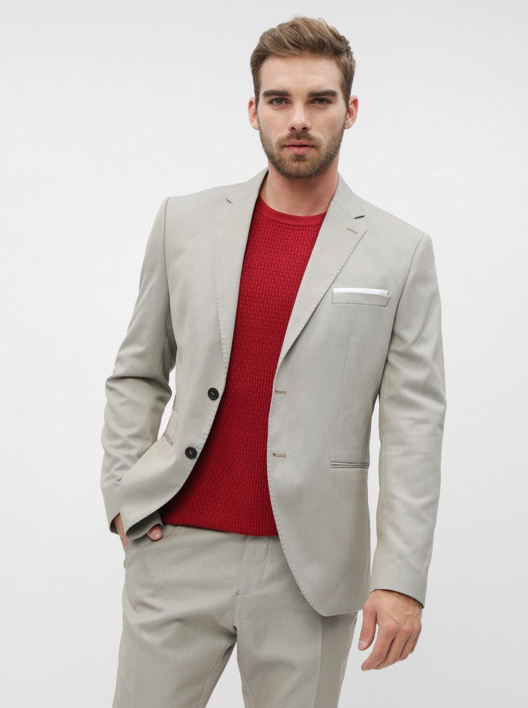 Beige Suit Slim Fit Jacket Selected By Homme Maze Saint