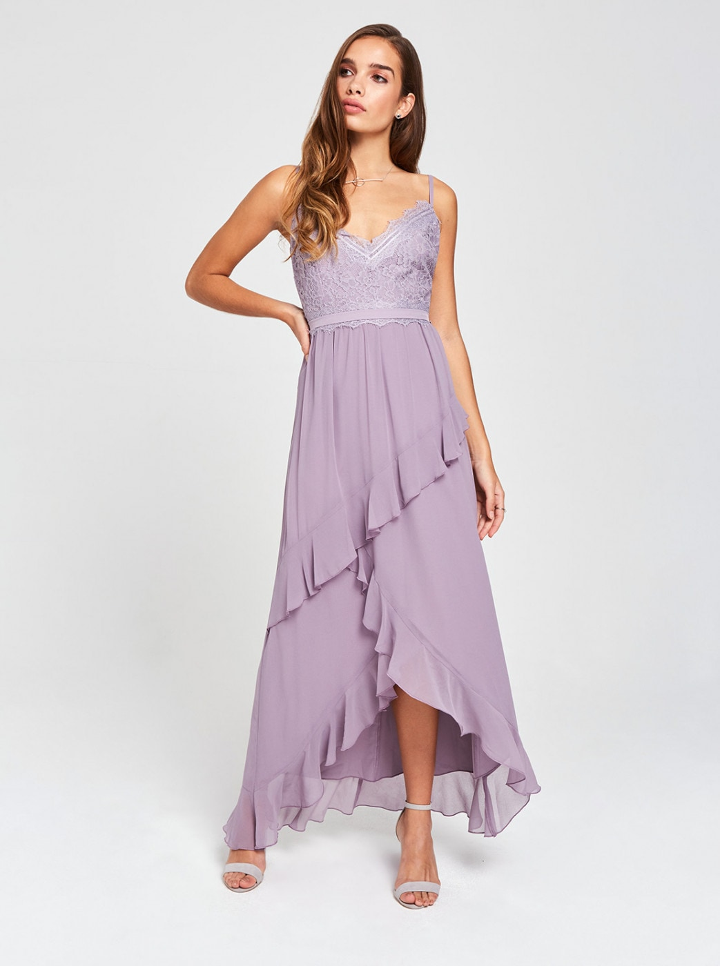 Light purple maxi dress with lace and ruffled Little Mistress