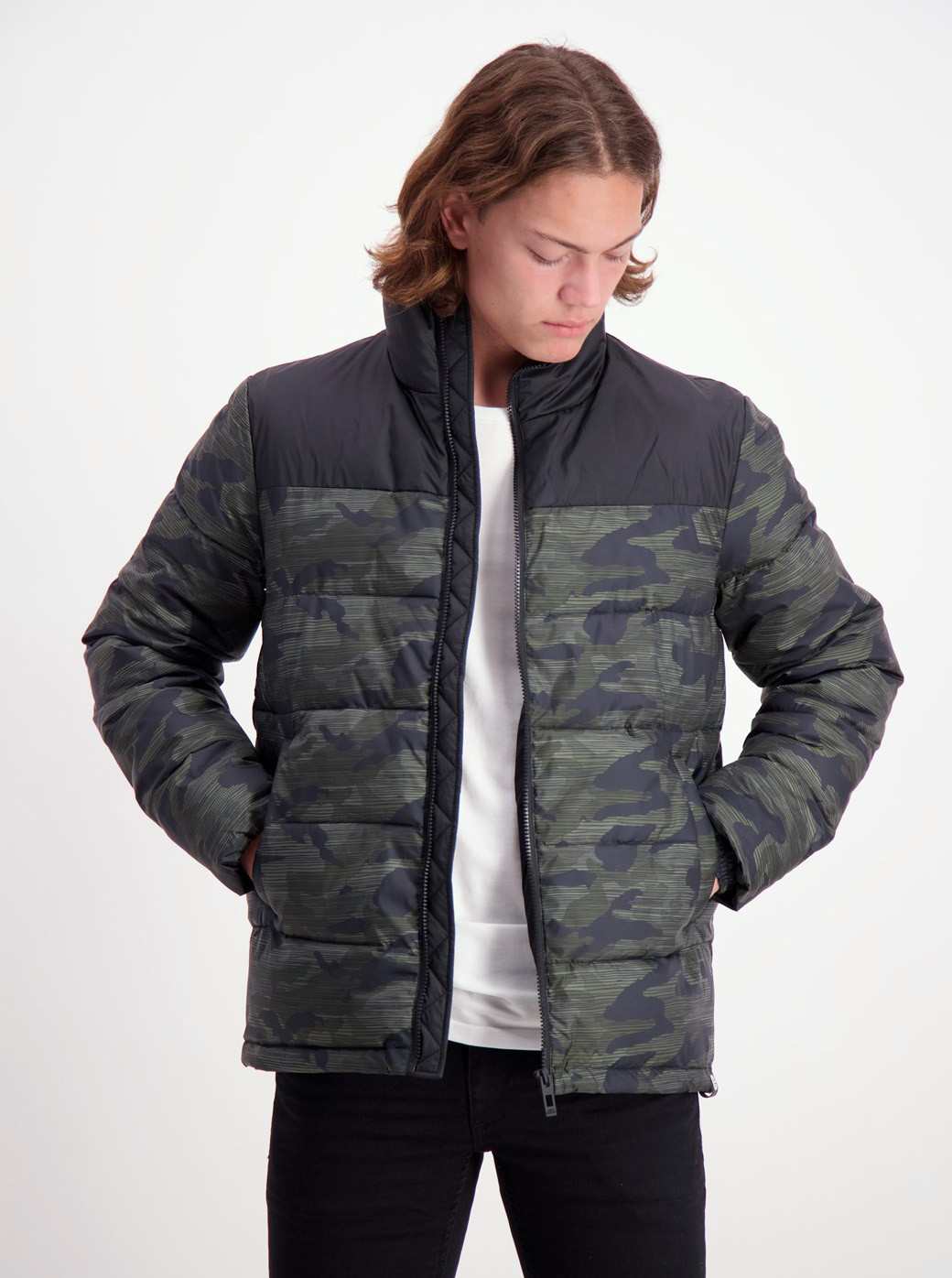 Shine Original Black-Green Patterned Winter Jacket