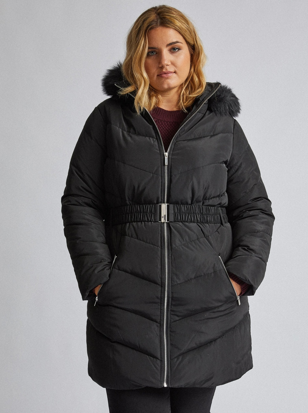 Dorothy Perkins Curve Black Quilted Winter Coat