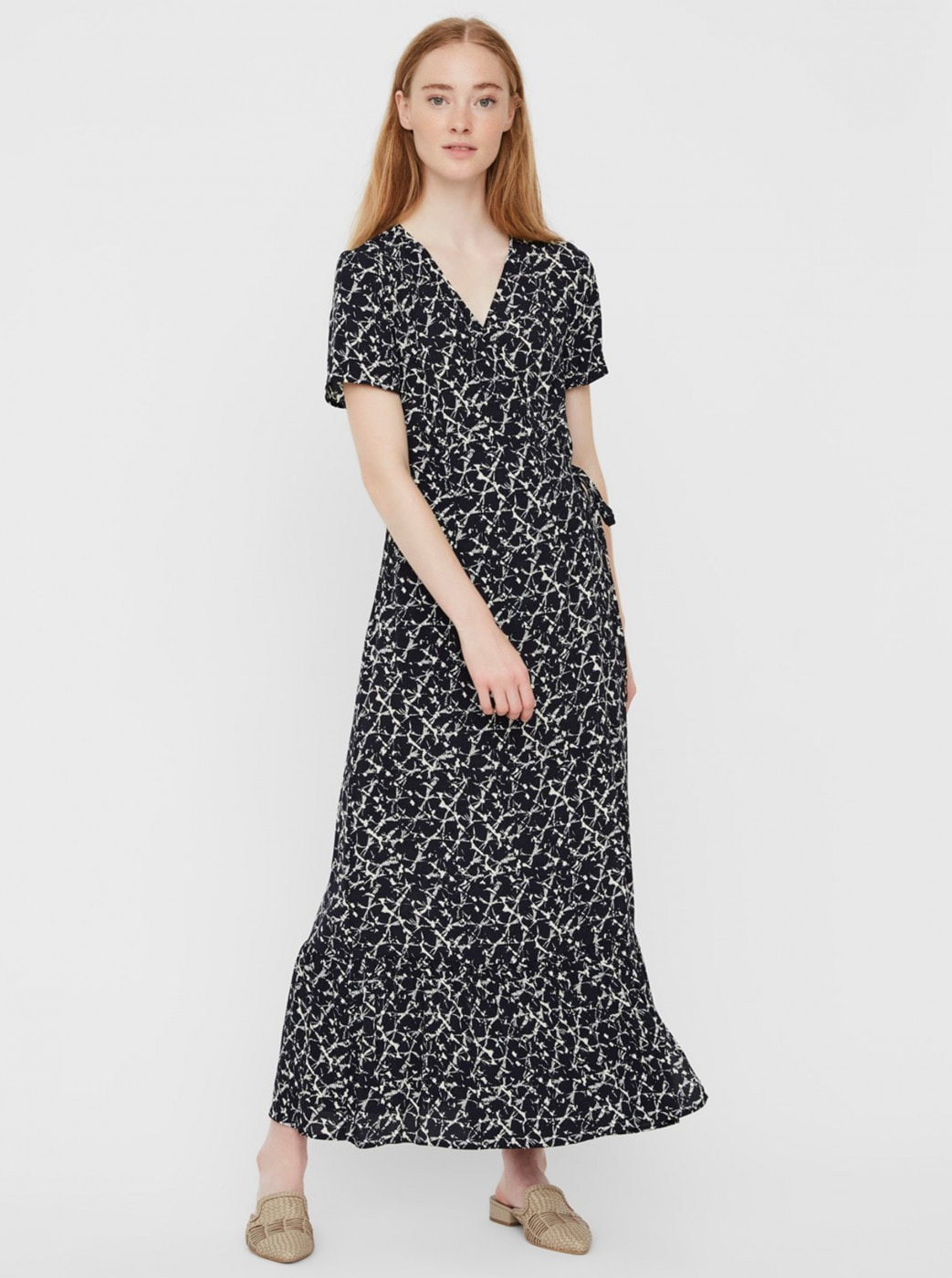 Dark blue patterned wrap maxi dress VERO MODA Nille